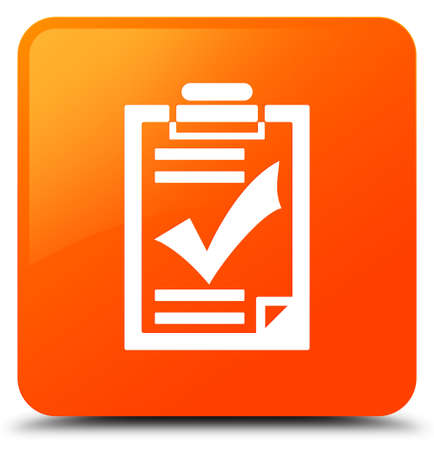 Checklist icon isolated on orange square button abstract illustration