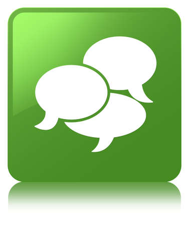 Comments icon isolated on soft green square button reflected abstract illustration