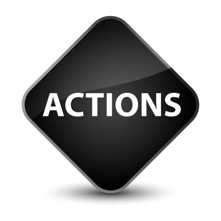 Actions isolated on elegant black diamond button abstract illustration