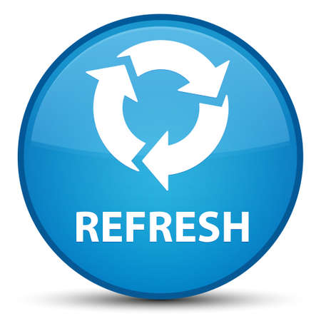 Refresh isolated on special cyan blue round button abstract illustration