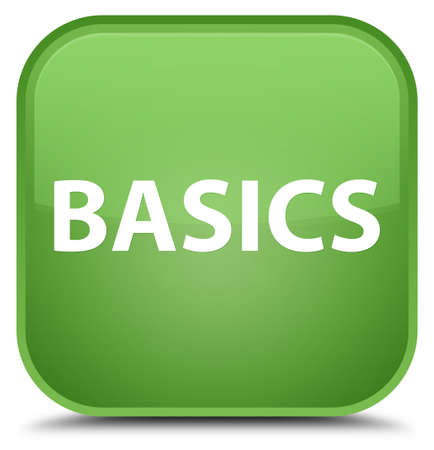 Basics isolated on special soft green square button abstract illustration