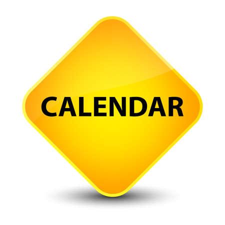 Calendar isolated on elegant yellow diamond button abstract illustration