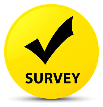 inquiry: Survey (validate icon) isolated on yellow round button abstract illustration