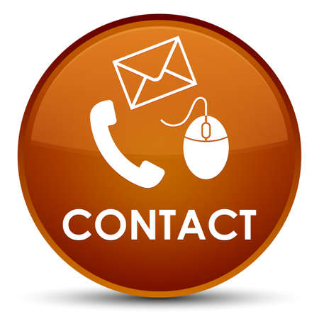 Contact (phone email and mouse icon) brown isolated on special round button abstract illustration