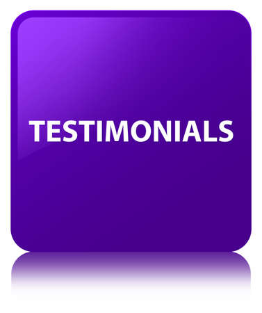 Testimonials isolated on purple square button reflected abstract illustration