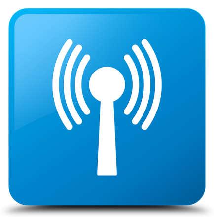 Icône de réseau WLAN isolé sur illustration abstraite du bouton carré bleu bleu Banque d'images - 89818727