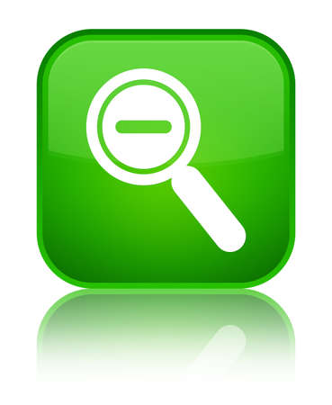 Zoom out icon isolated on special green square button reflected abstract illustration Stock Photo