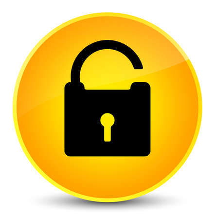 Unlock icon isolated on elegant yellow round button abstract illustration