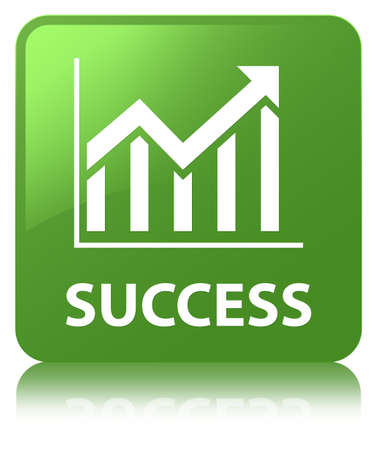 Success (statistics icon) isolated on soft green square button reflected abstract illustration Stock Photo