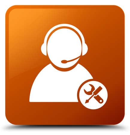 Tech support icon isolated on brown square button abstract illustration