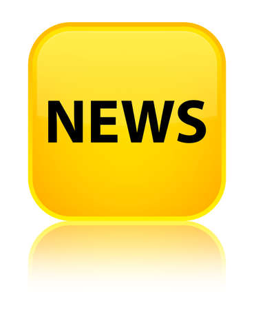 News isolated on special yellow square button reflected abstract illustration Stock Photo