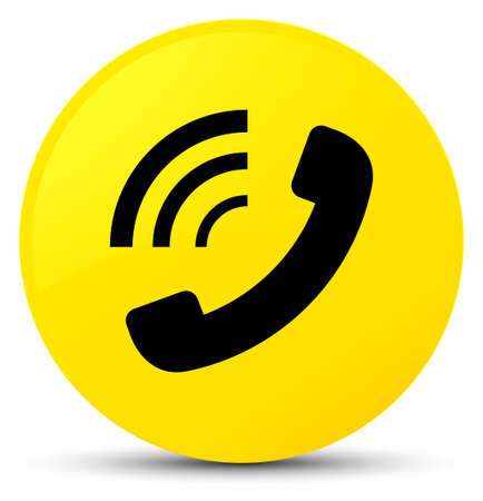 Phone ringing icon isolated on yellow round button abstract illustration
