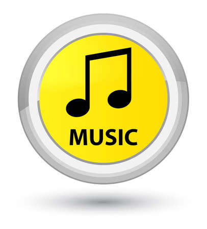 Music (tune icon) isolated on prime yellow round button abstract illustration