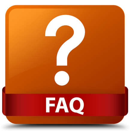 Faq (question icon) isolated on brown square button with red ribbon in middle abstract illustration Stock Photo