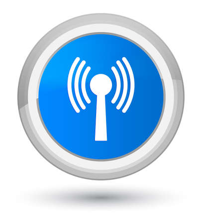 Wlan network icon isolated on prime cyan blue round button abstract illustration Stock Photo