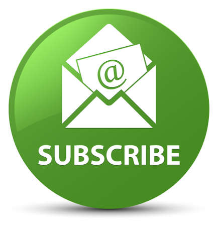 Subscribe (newsletter email icon) isolated on soft green round button abstract illustration Stock Photo