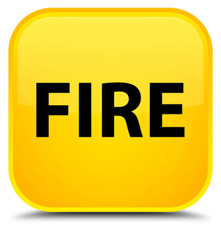Fire isolated on special yellow square button abstract illustration