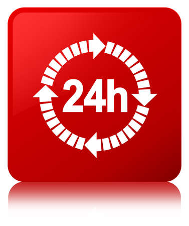 24 hours delivery icon isolated on red square button reflected abstract illustration Stock Photo