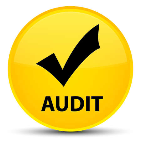 Audit (validate icon) isolated on special yellow round button abstract illustration Stock Photo
