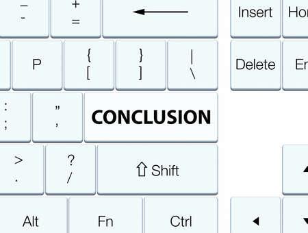 Conclusie op de witte abstracte illustratie die van de toetsenbordknoop wordt geïsoleerd Stockfoto