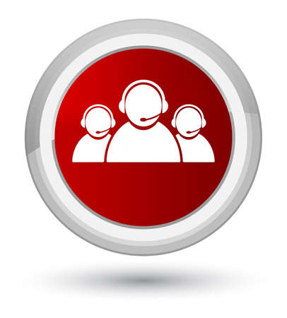 Customer care team icon isolated on prime red round button abstract illustration Stock Photo