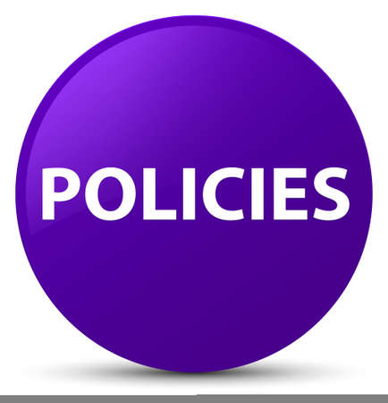 Policies isolated on purple round button abstract illustration