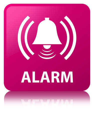 Alarm (bell icon) isolated on pink square button reflected abstract illustration Stock Photo