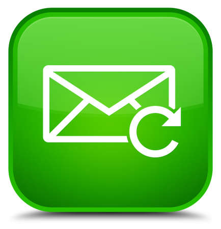 Refresh email icon isolated on special green square button abstract illustration Foto de archivo