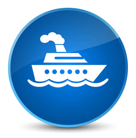 Cruise ship icon isolated on elegant blue round button abstract illustration