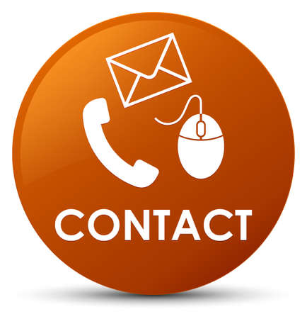 Contact (phone email and mouse icon) brown isolated on round button abstract illustration Stock Photo