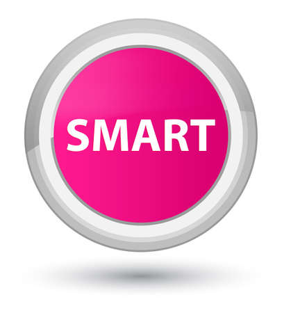 Smart isolated on prime pink round button abstract illustration