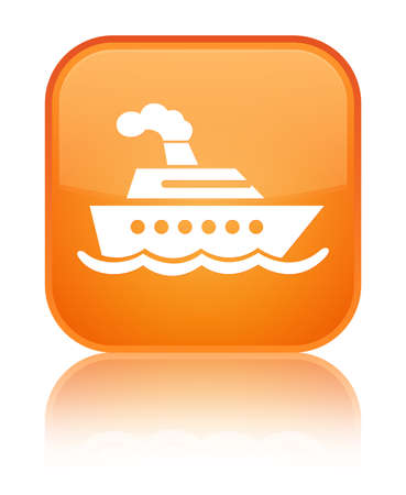 Cruise ship icon isolated on special orange square button reflected abstract illustration Stock Photo