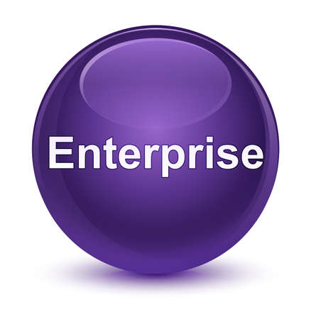 Enterprise isolated on glassy purple round button abstract illustration