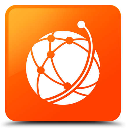 Global network icon isolated on orange square button abstract illustration