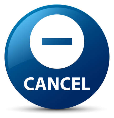Cancel isolated on blue round button abstract illustration Stock Photo