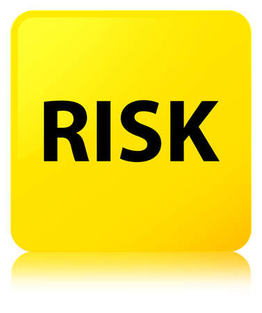 Risk isolated on yellow square button reflected abstract illustration Stock Photo
