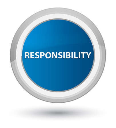 Responsibility isolated on prime blue round button abstract illustration
