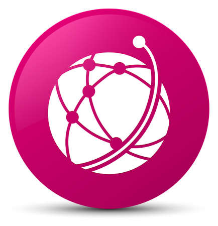 Global network icon isolated on pink round button abstract illustration