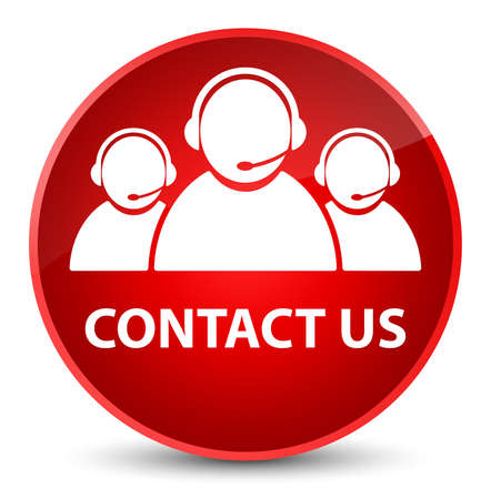 Contact us (customer care team icon) isolated on elegant red round button abstract illustration