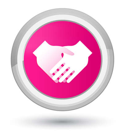 Handshake icon isolated on prime pink round button abstract illustration