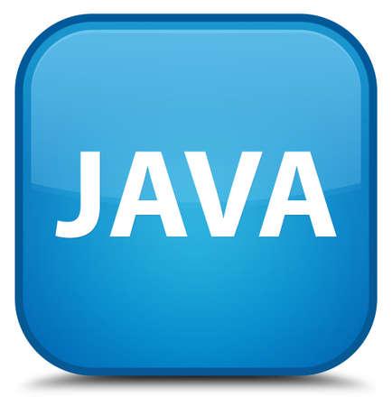 特別なシアン青い正方形ボタンの抽象的なイラストに分離された Java