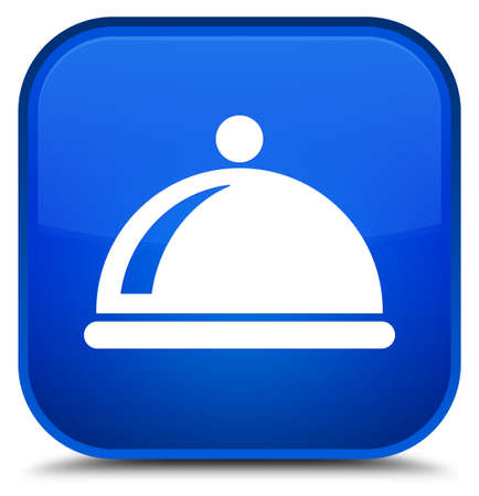 Food dish icon isolated on special blue square button abstract illustration