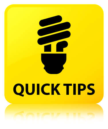 Quick tips (bulb icon) isolated on yellow square button reflected abstract illustration