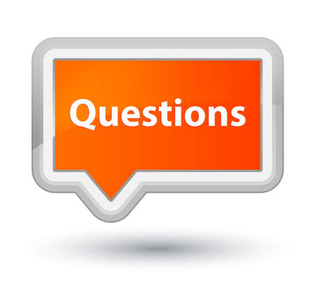 Questions isolated on prime orange banner button abstract illustration