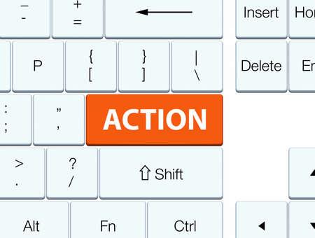 Action isolated on orange keyboard button abstract illustration Stok Fotoğraf