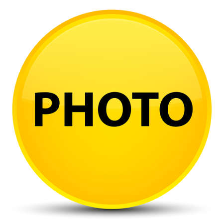 Photo isolated on special yellow round button abstract illustration Stock Photo