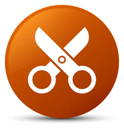 Scissors icon isolated on brown round button abstract illustration