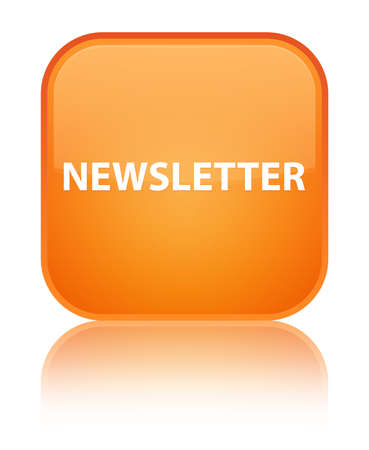 Newsletter isolated on special orange square button reflected abstract illustration