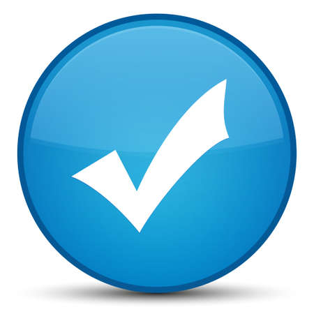 Validation icon isolated on special cyan blue round button abstract illustration Stock Photo