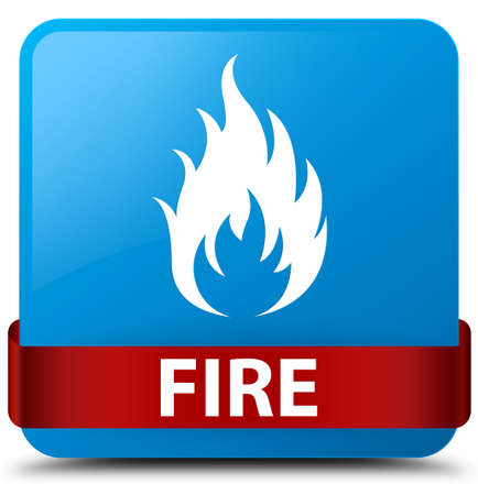 Fire isolated on cyan blue square button with red ribbon in middle abstract illustration Stock Photo